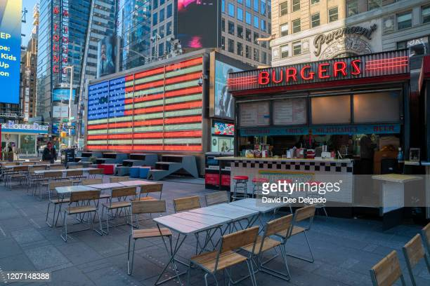 A normally very busy Times Square is nearly empty on March 12 2020 in New York City Many New Yorkers are heeding the advice of officials after the...