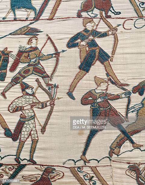 Norman archers lead Duke William's army detail of Queen Mathilda's Tapestry or Bayeux Tapestry depicting Norman conquest of England in 1066 France...