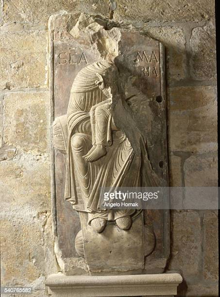 A Norman basrelief depicting the Virgin and the Child hangs in a crypt at York Minster York England