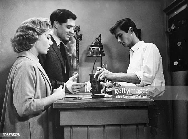 Norman Bates checks in Sam Loomis and Lila Crane to the Bates Motel in the classic Alfred Hitchcock thriller Psycho