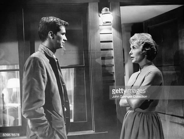 Norman Bates speaks with Bates Motel guest Marion Crane outside her room in a scene from the classic 1960 Alfred Hitchcock thriller, Psycho.