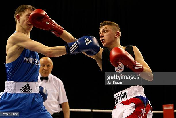 Norman Benn in action against Rankin Scott in their 49kg fight during day one of the Boxing Elite National Championships at Echo Arena on April 29...