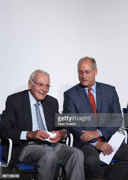 Norman Braman Chairman of Art Basel Miami Beach and Dan Gelber Mayor of Miami City attend a media conference to launch Art Basel Miami Beach at Miami...