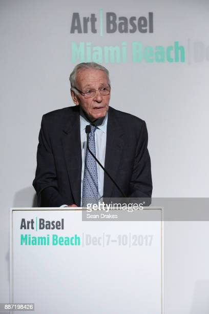 Norman Braman Chairman of Art Basel Miami Beach talks during a media conference about Miami Botanical Garden during Art Basel Miami Beach on December...