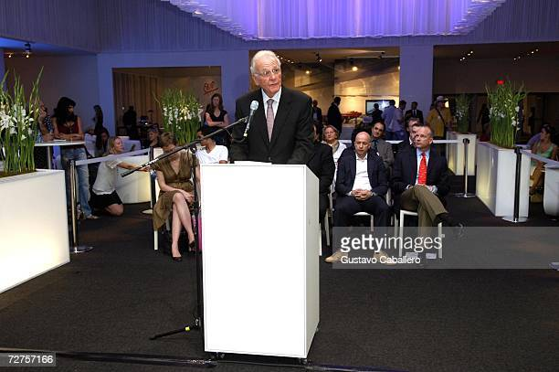 Norman Braman speaks during the Art Basel opening press conference December 6 2006 in Miami Beach Florida