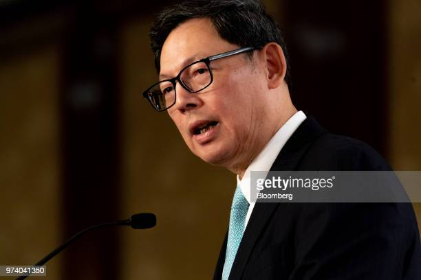 Norman Chan chief executive officer of the Hong Kong Monetary Authority speaks during the Green and Social Bond Principles annual general meeting and...