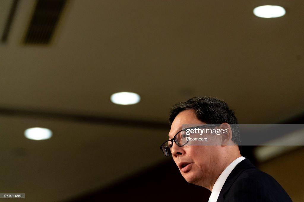Norman Chan, chief executive officer of the Hong Kong Monetary Authority (HKMA), speaks during the Green and Social Bond Principles annual general meeting and conference in Hong Kong, China, on Thursday, June 14, 2018. The one-day event was co-organized by the HKMA and Hong Kong Financial Services Development Council (FSDC). Photographer: Anthony Kwan/Bloomberg via Getty Images