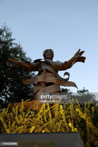 "Norman Christianson's ""u2018Christ Arisen""u2019 sculpture at Marquette University in Milwaukee, Wisconsin on September 14, 2018. MANDATORY MENTION OF..."