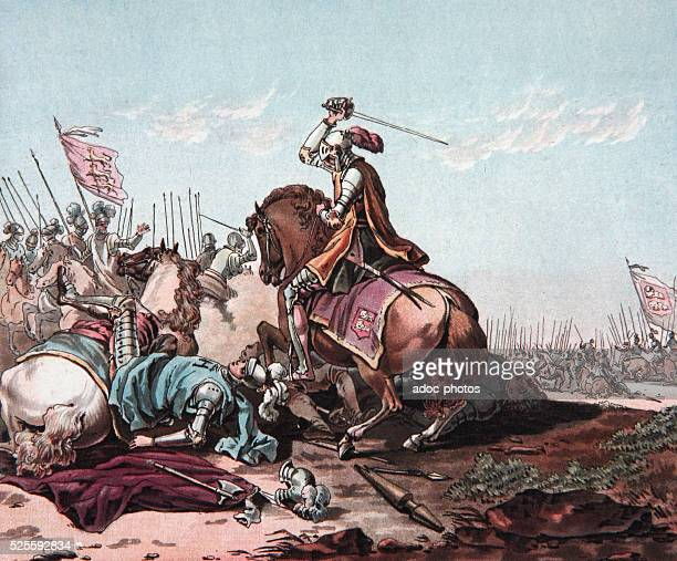 Norman conquest of England William I at the Battle of Hastings On October 14 1066 Aquatint in colour