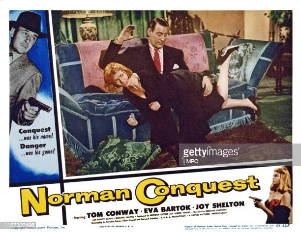 Norman Conquest US lobbycard from left Tom Conway Eva Bartok 1953