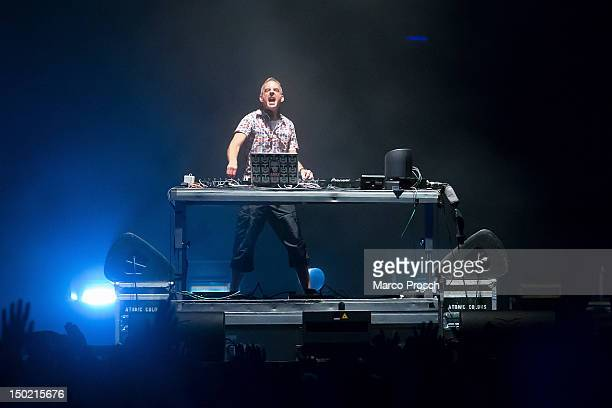 Norman Cook aka Fatboy Slim performs during Day 2 of the SonneMondSterne Music Festival on August 11 2012 in Saalburg Germany