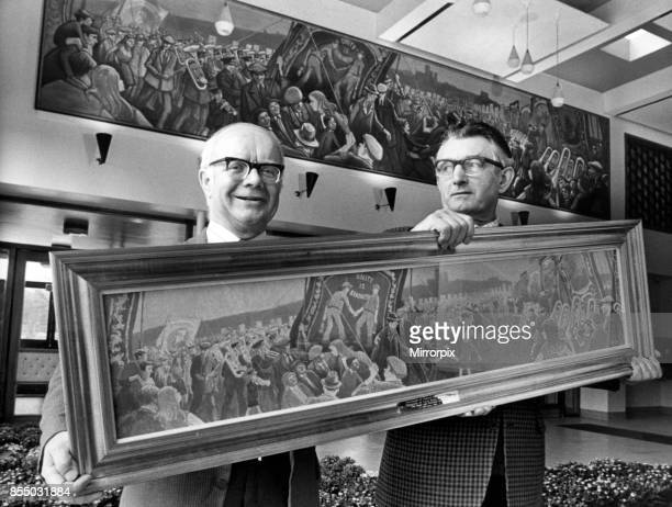 Norman Cornish gets ready for the royal presentation with Councillor Bob Pendlebury, Cornish's latest work of art will be subject to royal scrutiny...