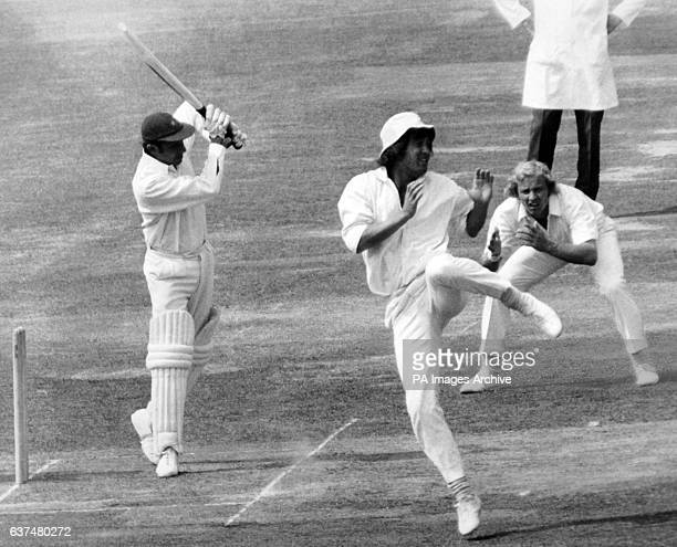 Norman Featherstone of Middlesex had the crowds in creases as he danced out of the way as Glamorgan's John Solanky drives a ball from Phil Edmonds....