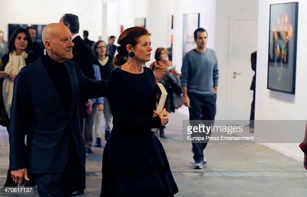 Norman Foster and Elena Ochoa Foster are seen at ARCO Contemporary Art Fair at Ifema on February 19 2014 in Madrid Spain