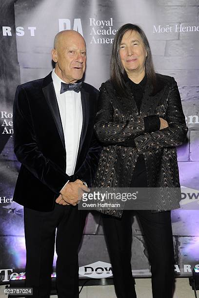 Norman Foster and Jenny Holzer attend Royal Academy America Gala Honoring Norman Foster and Jenny Holzer at Hearst Tower on November 15 2016 in New...