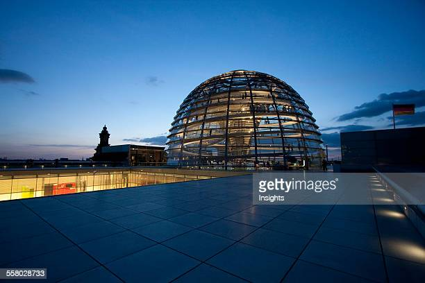 Norman Foster's Dome Of The Reichstag Building At Night Berlin Germany