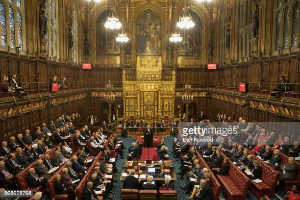 Norman Fowler the Lord Speaker delivers a report to members in The House of Lords chamber as it sits in session at the Houses of Parliament on...