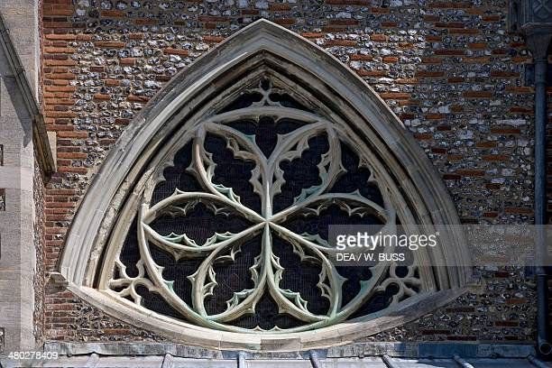 Norman Gothic style rose window St Albans cathedral Hertfordshire United Kingdom