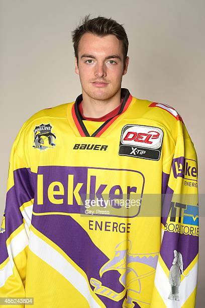Norman Hauner of Krefeld Pinguine during the portrait shot on august 14, 2014 in Krefeld, Germany.