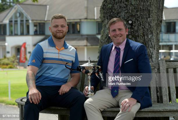 Norman Huguet and amateur playing partner Shaun Tiffany of Musselburgh GC pose with the trophy after winning the Lombard Trophy Scottish Qualifier at...