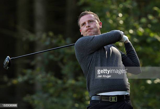 Norman Huguet of Musselburgh GC tees off during day 1 of the Skins PGA Fourball Championship at Forest Pines Hotel Golf Club on October 3 2012 in...