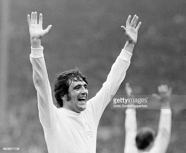 Norman Hunter of Leeds United celebrates victory over Arsenal at the end of the FA Cup Final at Wembley Stadium in London on 6th May 1972 Leeds...