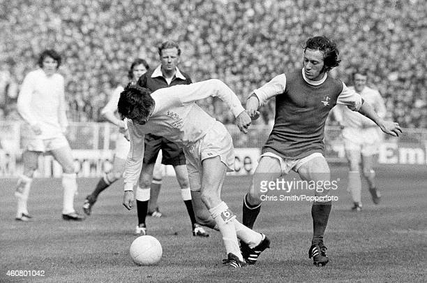 Norman Hunter of Leeds United is challenged by George Armstrong of Arsenal during the FA Cup Final at Wembley Stadium in London on 6th May 1972 Leeds...