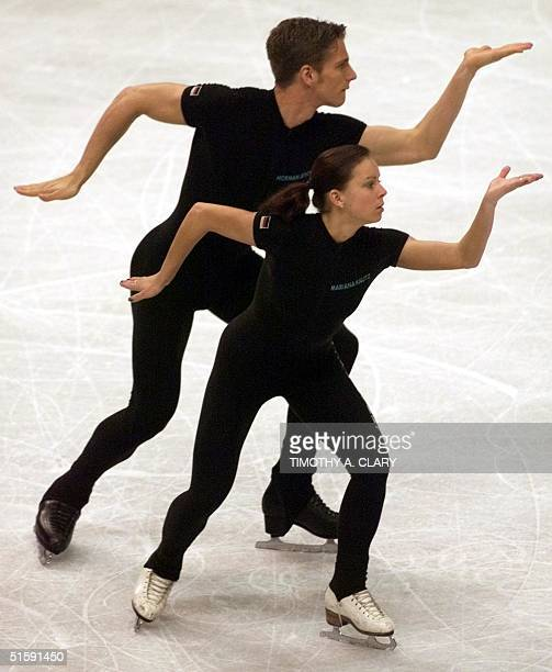 Norman Jeschke of Germany preforms with partner Mariana Kautz 18 March 2001 during practice for the Pairs competition of the World Figure Skating...