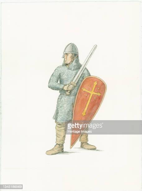 Norman knight, c1066 . A reconstruction illustration from Battle Abbey, East Sussex. Artist Judith Dobie.