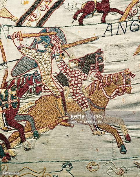 Norman knights chase the English detail of Queen Mathilda's Tapestry or Bayeux Tapestry depicting Norman conquest of England in 1066 France 11th...