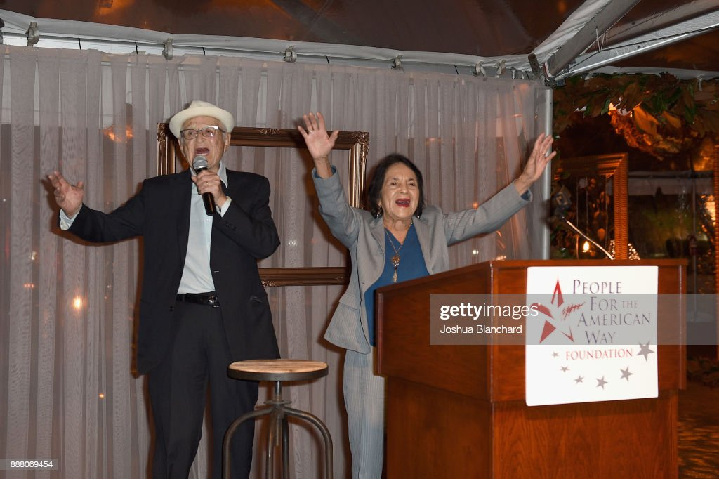 Norman Lear and Dolores Huerta speak onstage during Norman Lear's 95th Birthday Celebration on December 7, 2017 in Los Angeles, California.