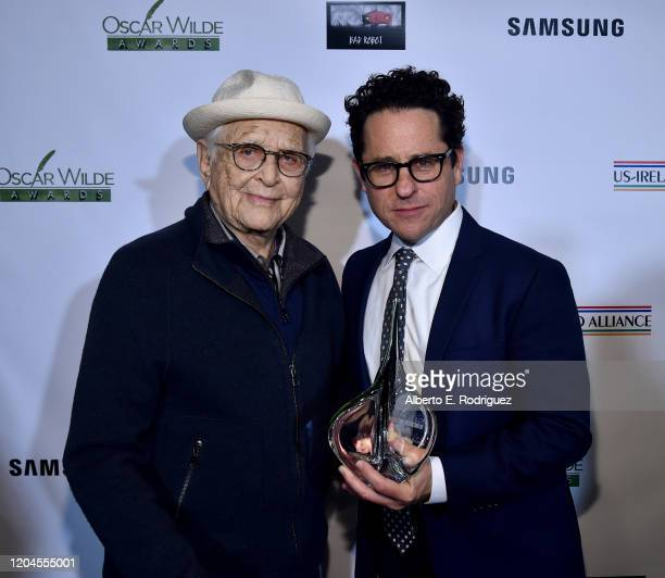 Norman Lear and JJ Abrams attend the Oscar Wilde Awards 2020 at Bad Robot on February 06 2020 in Santa Monica California