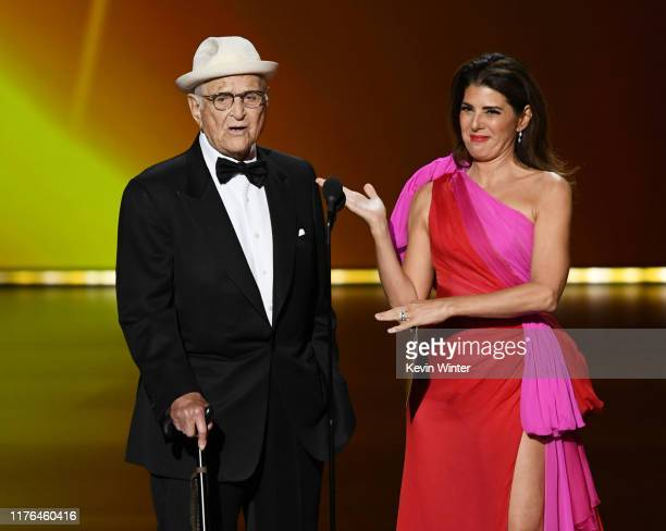 Norman Lear and Marisa Tomei speak onstage during the 71st Emmy Awards at Microsoft Theater on September 22, 2019 in Los Angeles, California.