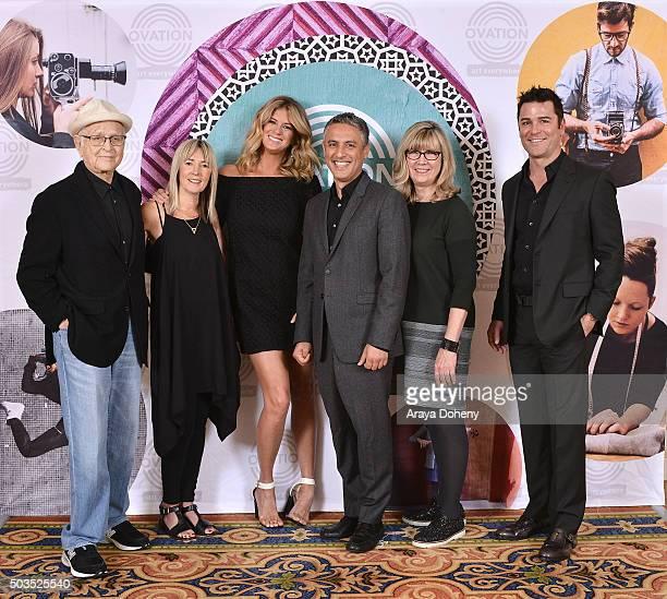 Norman Lear Bettina Hollings Rachel Hunter Reza Aslan Christina Jennings and Yannick Bisson attend the Ovation 2016 Winter TCA Tour introducing three...