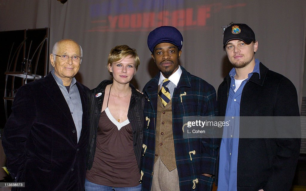 Norman Lear, Kirsten Dunst, Andre 3000 and Leonardo DiCaprio at the Declare Yourself 'Hollywood Celebrates Democracy' event on March 2. Declare Yourself is a national nonpartisan, nonprofit campaign to energize and empower a new movement of young voters to participate in the 2004, www.DeclareYourself.com
