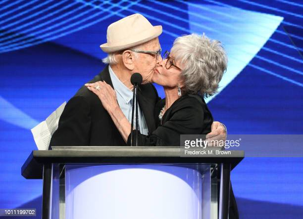 Norman Lear presents Rita Moreno with the Lifetime Achievement Award onstage during the 34th Annual Television Critics Association Awards during the...