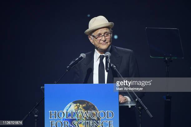 Norman Lear speaks onstage at the UCLA IoES honors Barbra Streisand and Gisele Bundchen at the 2019 Hollywood for Science Gala on February 21 2019 in...