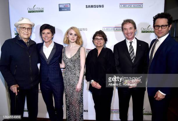 Norman Lear Tig Notaro Jenn Murray Trina Vargo Martin Short and JJ Abrams attend the Oscar Wilde Awards 2020 at Bad Robot on February 06 2020 in...