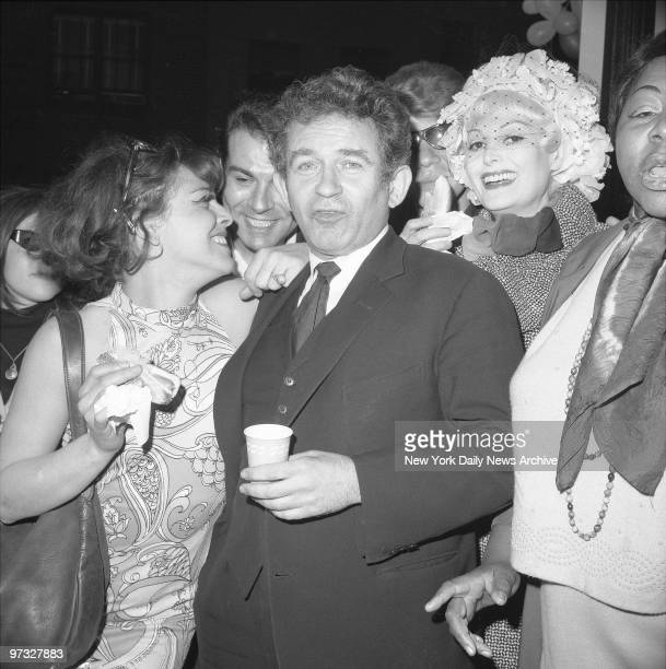 Norman Mailer celebrates the 100th performance of the play 'Deer Park' Norman Mailer with cast members Rosemary Tory and Jeri Archer at the block...