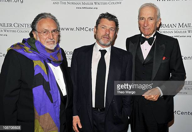 Norman Mailer Center and Writers Colony President and Co-Founder Lawrence Schiller, honoree Jann Wenner and host Gay Talese attend the Norman Mailer...
