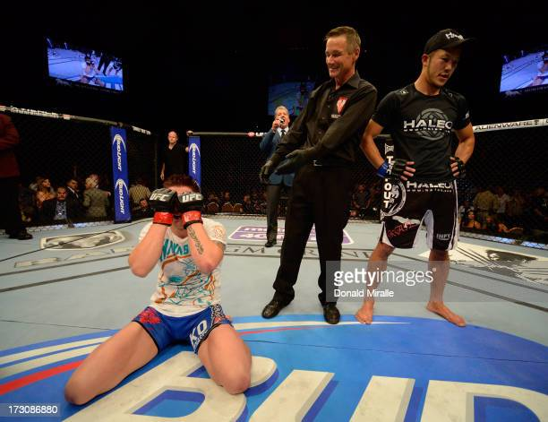 Norman Parke reacts to his victory over Kazuki Tokudome in their lightweight fight during the UFC 162 event inside the MGM Grand Garden Arena on July...