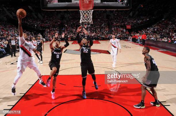 Norman Powell of the Portland Trail Blazers shoots the ball during the game against the Sacramento Kings on October 20, 2021 at the Moda Center Arena...