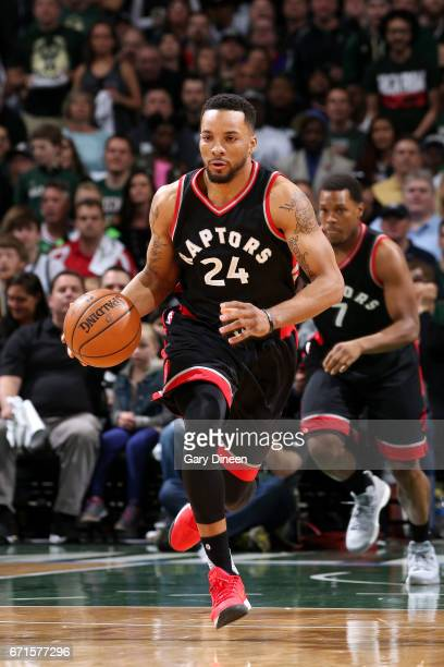 Norman Powell of the Toronto Raptors brings the ball up court during the game against the Milwaukee Bucks in Game Four during the Eastern Conference...