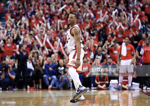 Norman Powell of the Toronto Raptors celebrates a three-pointer late in the second half of Game Seven of the Eastern Conference Quarterfinals against...