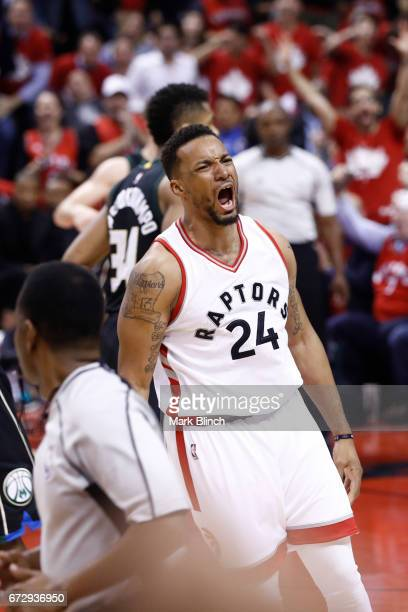 Norman Powell of the Toronto Raptors celebrates during the game against the Milwaukee Bucks during Game Five of the Eastern Conference Quarterfinals...