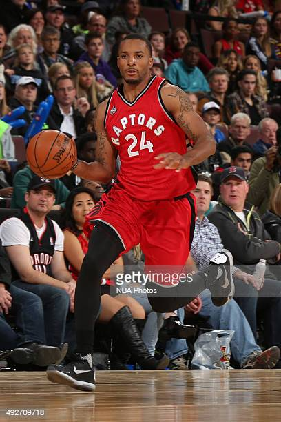 Norman Powell of the Toronto Raptors dribbles the ball against the Minnesota Timberwolves at Canadian Tire Centre on October 14 2015 in Ottawa...