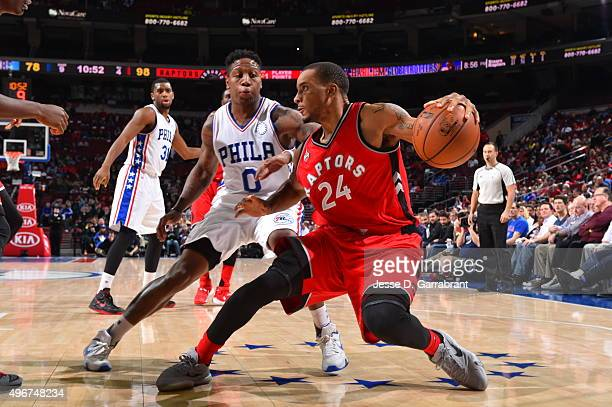 Norman Powell of the Toronto Raptors dribbles the ball against the Philadelphia 76ers at Wells Fargo Center on November 11 2015 in Philadelphia...