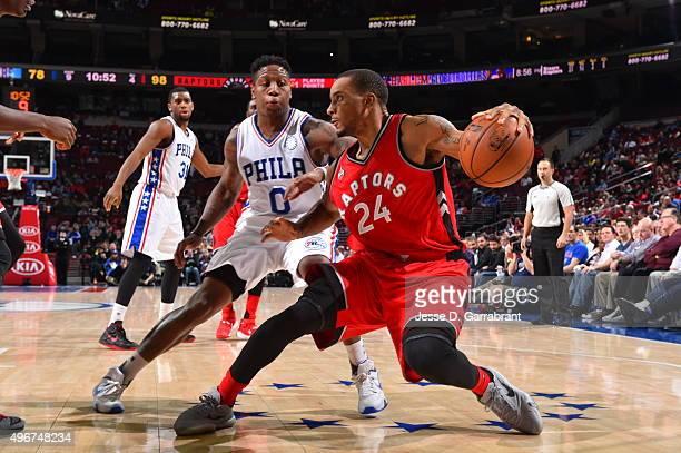 Norman Powell of the Toronto Raptors dribbles the ball against the Philadelphia 76ers at Wells Fargo Center on November 11 2015 in Philadelphia...