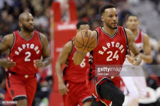 Norman Powell of the Toronto Raptors dribbles the ball against the Washington Wizards in the first half at Verizon Center on March 3 2017 in...