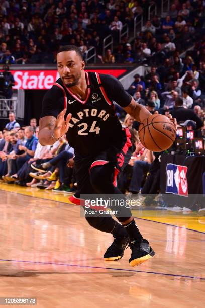 Norman Powell of the Toronto Raptors drives to the basket against the Golden State Warriors on March 5 2020 at Chase Center in San Francisco...